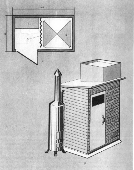 Летний  душ с дровяной водогрейной колонкой